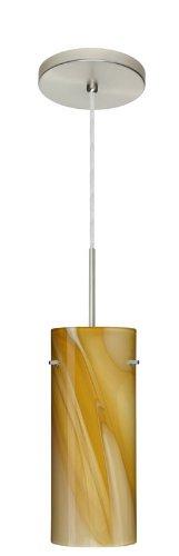 Besa Lighting 1JT-4123HN-SN 1X100W A19 Stilo 10 Pendant with Honey Glass, Satin Nickel Finish - Stilo 1 Light