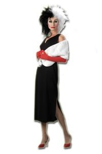 Disguise Adult 101 Dalmatians Disney Cruella De Vil Costume, Black/White, Large (Costume Cruella Deville)