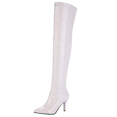 Botas RAZAMAZA Stiletto nbsp;Moda nbsp;Mujer Blanco Pierna Media Puntiagudo qWF8tSWn