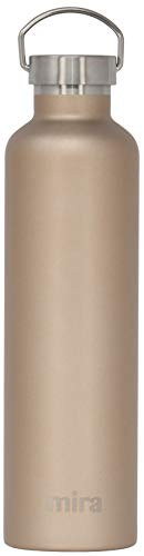 MIRA Insulated Stainless Steel Large Water Bottle | Alpine Vacuum Insulated Thermos Flask with 2 Lids | Keeps Cold for 24 Hours, Hot for 12 Hours | Metal Bottle BPA-Free Cap | Champagne | 34 oz