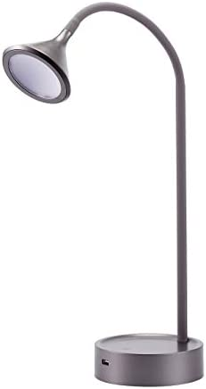 BLACK DECKER VLED1812GRAY-BD Flexible Gooseneck USB Charging Port LED Desk Lamp, Gray