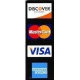Credit card decal, MasterCard logo, American express logo, discover logo, visa logo. Made in the USA.