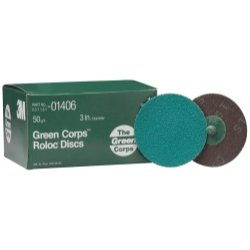 3M Green Corps Roloc Discs, 3'' - 50 Grit DISC ROLOC 50GR 3 25/BX GREEN