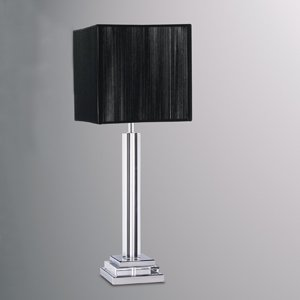 Cut Crystal Base Table Lamp With Black String Square Lamp Shade
