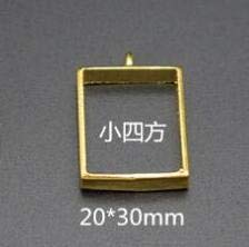 Laliva Metal Frame Open Bezel Setting Blank Pendant for UV Resin Jewelry Making Moon Round Oval Shape - (Color: Small Gold Rectangle) ()