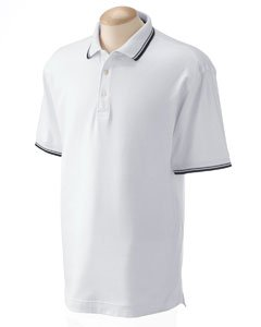 - Devon & Jones Men's Tipped Perfect Pima Interlock Polo M WHITE/NAVY
