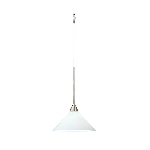 WAC Lighting QP512-WT/BN Jill Quick Connect Pendant with White Shade and Brushed Nickel Socket Set (Socket Quick Pendant Connect)