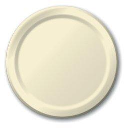 Amscan Durable Plain Round Party Plates Tableware Childrens (120 Piece), Vanilla Crème Kids Creme