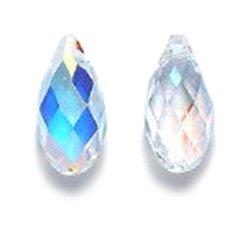 Swarovski 6010 Briolette Drop Beads, Aurora Borealis, Crystal, 5.5 by 11mm, 2 Per Pack