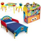 Sesame Street Toddler Bedroom Set with BONUS Toy Organizer, Does Not Ship To CALIFORNIA (Box Street Sesame Toy)