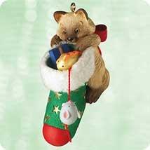 Hallmark 2003 CAT Ornament MISCHIEVOUS KITTENS #5 - CALICO KITTY w STOCKING