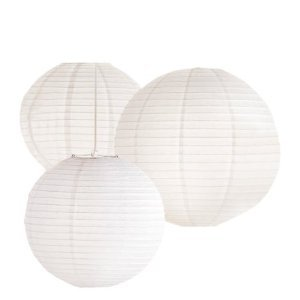 Tag Oversized Round Paper Lanterns, Set of 3, White, Assorted - Lantern Tag