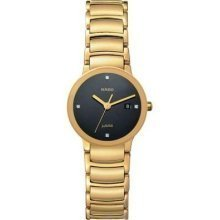 Rado Centrix Jubile Black Diamond Dial Gold-Plated Stainless Steel Ladies Watch R30528713