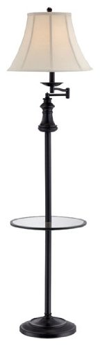 Lite Source C61195 Brandice Floor Lamp with Off-White Fabric Shade, Black Bronze
