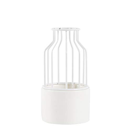 Blue-shore Nordic Ceramic Iron Art Vase Simple Geometric Flower Vases Home Decoration for Plant Rose Flowerpot,S White