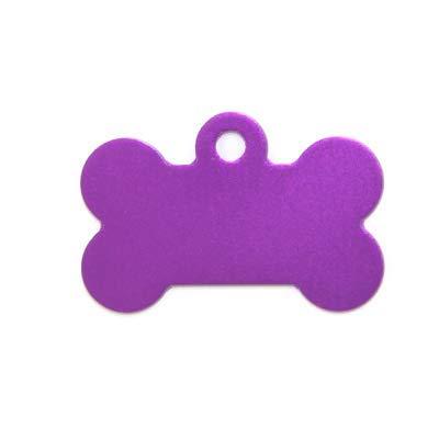 ALSAGRAV Médaille OS pour Petit/Moyen Chien ou Chat Coloris Violet - Anneau et Gravure offerts - 9 Coloris Disponibles