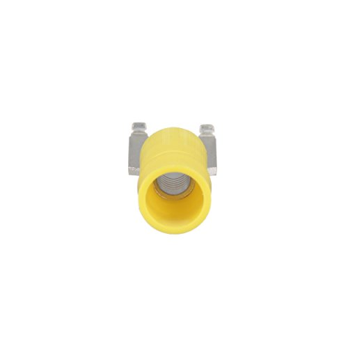 "Panduit PV10-10FF-L Flanged Fork Terminal, Vinyl Insulated, Funnel Entry, 14 - 10 AWG Wire Range, #10 Stud Size, Yellow, 0.04"" Stock Thickness, 0.225"" Max Insulation, 0.37"" Terminal Width, 1.03"" Terminal Length, 0.22"" Center Hole Diameter (Pack of 50)"