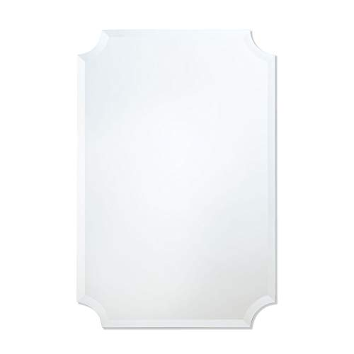 White Scalloped Mirror - The Better Bevel Frameless Rectangle Wall Mirror | Bathroom, Vanity, Bedroom Rectangular Mirror | Scalloped Corners (24