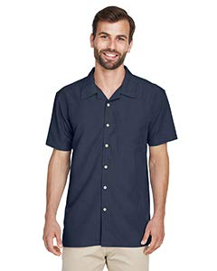 Texture Camp Shirt - Harriton mens Barbados Textured Camp Shirt(M560)-NAVY-3XL