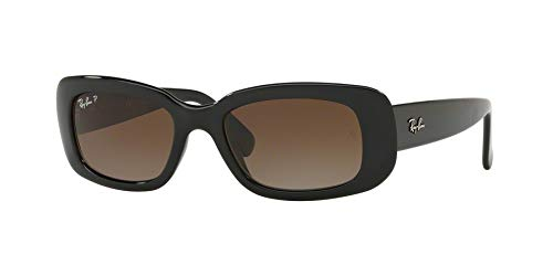 (Ray-Ban Women's RB4122 Rectangular Sunglasses, Black/Polarized Grey Gradient, 50 mm)