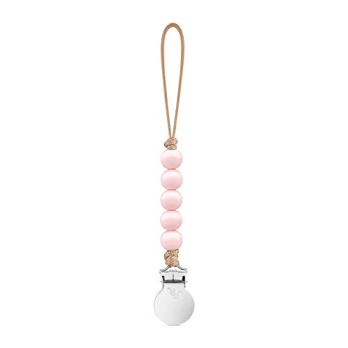 Beaded Pink Clip - Ryan & Rose Beaded Pacifier Mini Cutie Clip (Pink, Quinn)