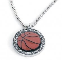 Necklace - Enamel Basketball - Pewter - 24