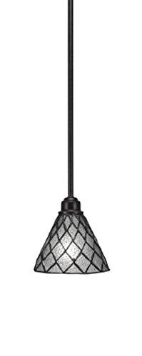- Toltec Lighting Blacksmith 1 Light Mini Pendant, Diamond Ice Tiffany Glass