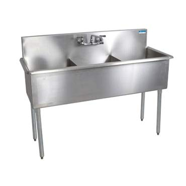 BK Resources BK8BS-3-1221-12 Budget Sink, three compartment, 39 inch W x 24-1/2 inch D x 41 inch H, 18/430 stainless steel construction