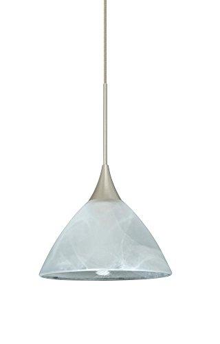 (Besa Lighting 1XT-174352-LED-SN 1X6W Led Lightsource Domi Pendant with Marble Glass, Satin Nickel Finish)