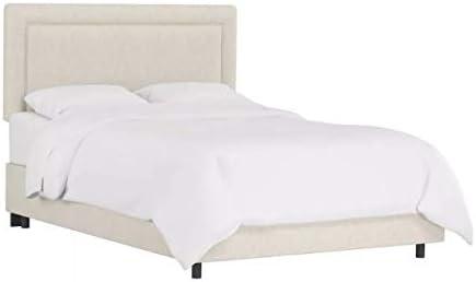 Full Border Metal Frame Upholstered Bed Linen Talc