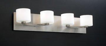 PLC Lighting 7614 SN 4 Light Vanity, De Lion Collection, Satin Nickel Finish (Lighting Collections Cottage)