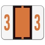 Smead Single Digit End Tab Labels, Number 3, Dark Orange-on-White, 500/Roll ()