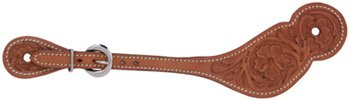(Metalab Adult Leather Floral Western Spur Straps Tan)