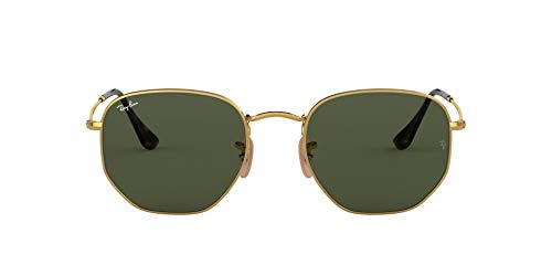 Ray-Ban RB3548N Hexagonal Flat Lenses Sunglasses, Gold/Green, 54 mm (Ray Ban Square)