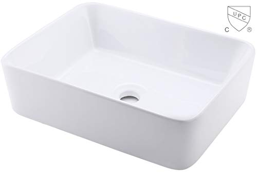12 Inch Vessel Sink - KES Bathroom Vessel Sink 19-Inch White Rectangle Above Counter Countertop Porcelain Ceramic Bowl Vanity Sink cUPC Certified, BVS110