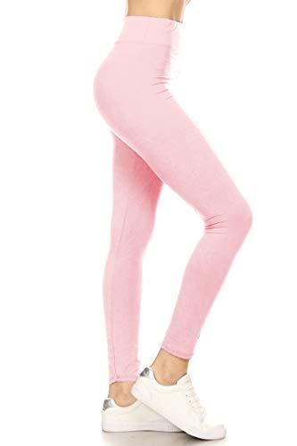 LYX128-PINK2 Yoga Solid Leggings, Plus ()