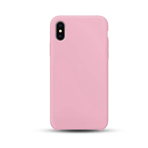 iPhone 10 Pink Phone Case, Soft Microfiber for iPhone X 2017   Solid Pastel Color Phone Cover for iPhone 10   Protects Buttons - Doesn't Block The Microphone or Speakers