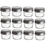 Nakpunar 12 pcs 4 oz Mason Glass Jars 4 oz with One Piece Silver Plastisol Lined Lids