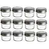Nakpunar 12 pcs 4 oz Mason Glass Jars 4 oz with One Piece Silver Plastisol Lined Lids