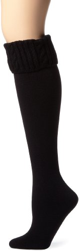 Anne Klein Women's Cable Turn Cuff Fleece Lined Boot Socks, Black, One Size