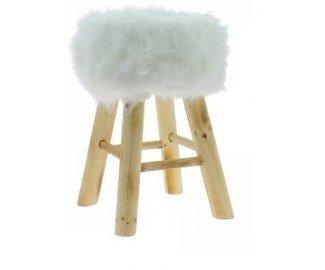 Sgabello bianco rivestito in pelliccia con gambe di legno: amazon.it
