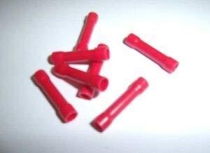 (100) Wire Butt Connectors Red Vinyl 22-18 Gauge AWG Ga Car Radio Terminals New Terminals