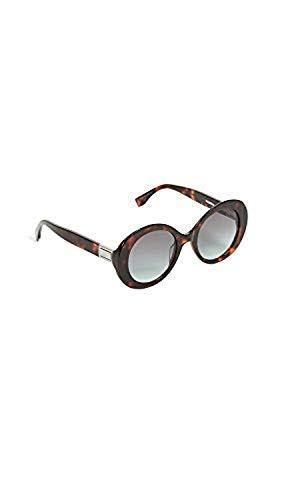 Fendi Women's Oval Frame Sunglasses, Dark Havana/Grey Green, One Size