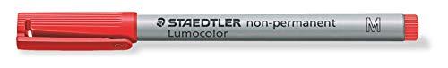 Staedtler Lumocolor 315-2 - Bolígrafo no permanente (línea de 0,8 mm, punta media, tinta color rojo, 10 unidades)
