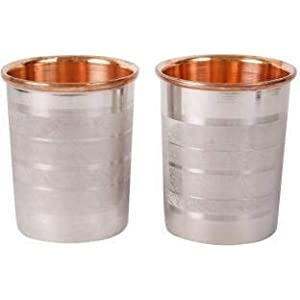 Bronzerr 100% Pure Copper Steel Glass Tumbler Drinkware with Copper Inside and Steel Outside, 300 ML Each, Set of 2