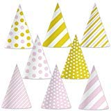 Beistle 60032 Pink and Gold Cone Hats (24 Pack), 6.5, -