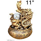 Dragon Water Fountain Rolling Ball Led Light Indoor/Outdoor Water Pump Included 11'' Inch Statue