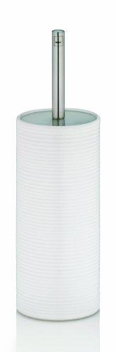 Kela 20822, WC-Bürste und Behälter, WC-Garnitur, Edelstahl/Keramik, Groove, Weiß