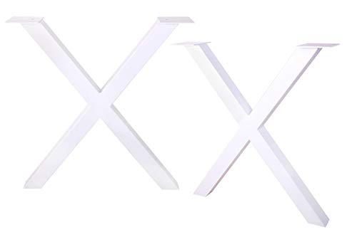 ECLV 28'' Dining Table Legs, X-Shaped Steel Table Legs, Office Table Legs,Computer Desk Legs,Industrial Kitchen Table Legs,Set of 2,White by ECLV (Image #6)