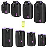 4 Pack Lens Pouch Case Protected Bag with 5mm Thick Protective Neoprene Soft Plush for Canon Nikon Sony Panasonic Pentax Olympus Fuji DSLR Camera, Size: S,M,L,XL.